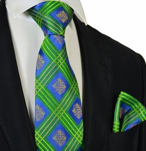 Summer Green and Blue Steven Land Silk Tie and Pocket Square Set
