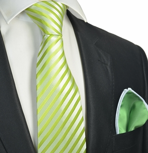 Summer Green Striped Tie with Contrast Rolled Pocket Square Set