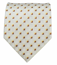 Off-White with Rust Red and Gold, Paul Malone Silk Necktie (963)