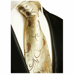 Tan and Brown Paul Malone Silk Necktie (915)