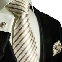 Tan and White Striped Paul Malone Silk Tie Set (694CH)