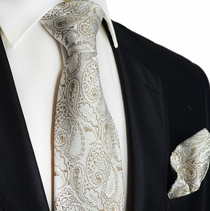 Tan Paisley Silk Tie and Pocket Square by Paul Malone