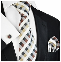Tan Plaid Silk Tie Set by Paul Malone