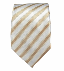 Tan Striped Slim Tie by Paul Malone . 100% Silk