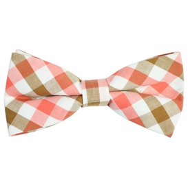 Tan, White and Pink Cotton Bow Tie by Paul Malone Red Line