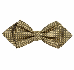 Taupe Checked Silk Bow Tie by Paul Malone Red Line
