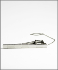 Tie Bar and Chain . Silver
