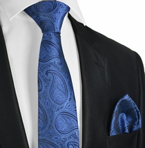 True Blue Paisley Tie and Pocket Square Set