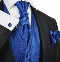 True Blue Paisley Tuxedo Vest Set by Paul Malone