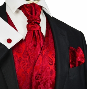 True Red Paisley Tuxedo Vest and Tie Set by Paul Malone