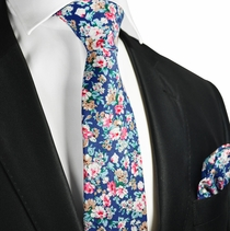 Turkish Sea Blue Floral Cotton Tie Set by Paul Malone