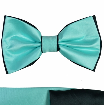 c258f3173c0d Turquoise and Black Bow Tie with Two Pocket Squares