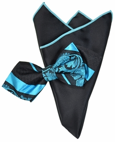Turquoise and Black Silk Bow Tie with Rolled Trim Pocket Square