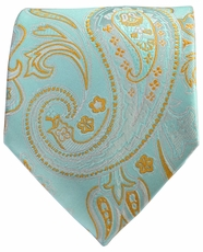 Turquoise and Copper Paisley Men's Tie