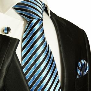 Methyl Blue Striped Silk Tie Set by Paul Malone