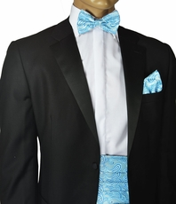Turquoise Paisley Cummerbund and Bow Tie Set