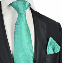 Turquoise Paisley Necktie and Pocket Square Set (Q600-V)