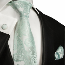 Turquoise Paisley Silk Tie Set by Paul Malone