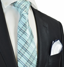 Turquoise Plaids Tie with Contrast Rolled Pocket Square Set