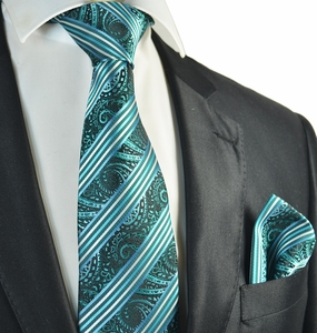 Turquoise Striped Tie and Pocket Square Set