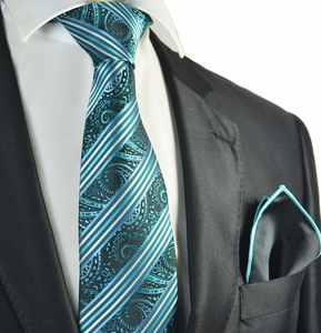 Turquoise Striped Tie with Rolled Contrast Pocket Square Set