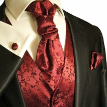 Tuxedo Vest Set by Paul Malone in Burgundy Vines (V95)