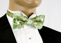 Two Tone Bow Tie and Pocket Square . Green and Brown (T9)
