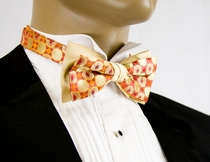 Two Tone Bow Tie and Pocket Square . Orange and Tan (T11)