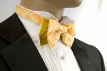 Two Tone Bow Tie and Pocket Square Set . Gold Paisley (BH090)