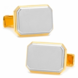 Two Tone Rectangular Cufflinks, Sterling Silver