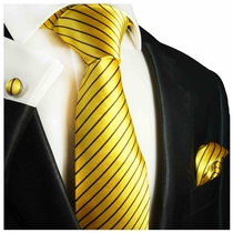 Vibrant Yellow Striped Silk Tie Set by Paul Malone