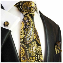 Yellow Paisley Silk Tie Set by Paul Malone