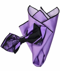 Violet and Black Silk Bow Tie with Rolled Bordered Pocket Square