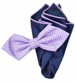 Violet and Navy Bow Tie Set with Rolled Bordered Pocket Square
