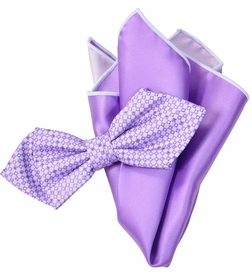Violet Bow Tie Set with Rolled Bordered Pocket Square