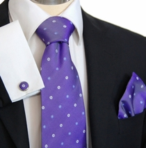Violet Paul Malone Silk Necktie Set with Blue and White Flowers (958CH)