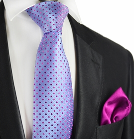 Vista Blue and Purple 7-fold Silk Tie Set by Paul Malone