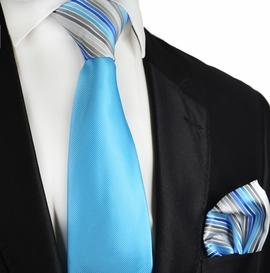 Vivid Blue Contrast Knot Tie Set by Paul Malone
