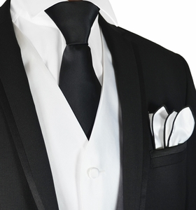 White and Black Tuxedo Vest, Tie and Trim Pocket Square