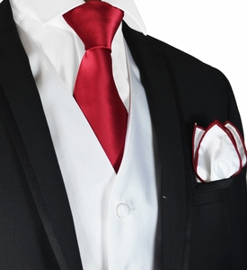 White and Burgundy Tuxedo Vest, Tie and Trim Pocket Square