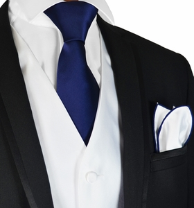 White and Navy Mens Tuxedo Vest, Tie and Trim Pocket Square