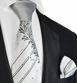 White and Silver Steven Land Wedding Tie and Pocket Square with Crystals