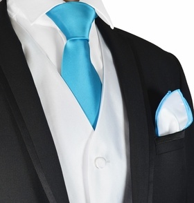 White and Turquoise Tuxedo Vest, Tie and Trim Pocket Square