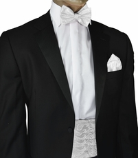 White Paisley Cummerbund and Bow Tie Set
