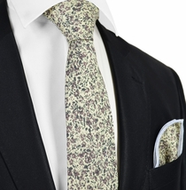 Wisteria Flowered Cotton Tie Set by Paul Malone