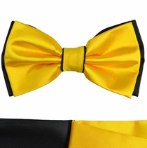 Yellow and Black Bow Tie with 2 Pocket Squares