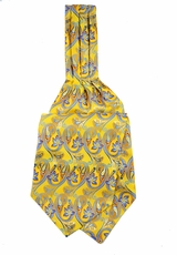 Yellow and Blue Ascot Tie and Pocket Square Set