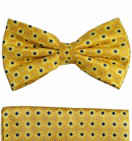Yellow and Blue Paul Malone Bow Tie and Pocket Square Set  . 100% Silk (BT689H)