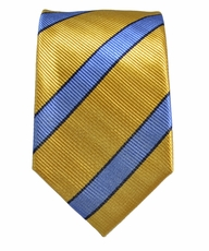 Yellow and Blue Slim Silk Tie by Paul Malone