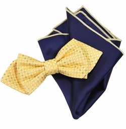 Yellow and Navy Bow Tie Set with Rolled Bordered Pocket Square